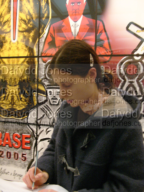 Emily Bearn. Gilbert and George SonOfAGod  Pictures. White Cube. 19  January 2006.  ONE TIME USE ONLY - DO NOT ARCHIVE  © Copyright Photograph by Dafydd Jones 66 Stockwell Park Rd. London SW9 0DA Tel 020 7733 0108 www.dafjones.com