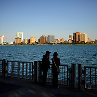 Part of the Canadian skyline is seen over the Detroit River, in Detroit Michigan. Melanie Maxwell