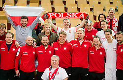 Team Poland and supporters of Poland celebrate after winning during the Day 2 of Davis Cup 2018 Europe/Africa zone Group II between Slovenia and Poland, on February 4, 2018 in Arena Lukna, Maribor, Slovenia. Photo by Vid Ponikvar / Sportida