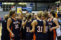 19 March 2010: Members of the Flying Dutch react after winning to advance to the Championship Game. The Flying Dutch of Hope College defeat the Yellowjackets of the University of Rochester in the semi-final round of the Division 3 Women's Basketball Championship by a score of 86-75 at the Shirk Center at Illinois Wesleyan in Bloomington Illinois.