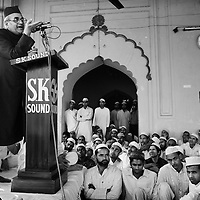 A congregation gathers to hear Naseem Ahmed, Vice Chancellor of Aligarh Muslim University, speak after Friday prayers at the Jamma Masjid in Moradabad. His speech is organised by Unicef and focusses exclusively on the subject of polio eradication. Urging people not to be pessimistic, Ahmed insists that polio is a disease that can only be defeated by unified action. ..India is one of only four countries in the world reported to suffer endemic polio. Only 66 new cases of the disease were reported in India in 2005. But in 2006 that figure leapt ten-fold. In September, UN Secretary General Kofi Annan wrote to Indian Prime Minister Manmohan Singh expressing concern at the new polio outbreak. The Indian government, together with partners including Unicef and Rotary International has embarked on a renewed effort to eradicate polio. Overcrowded areas of poor sanitation are particularly susceptible to the virus. Focusing on the poor north Indian states of Uttar Pradesh and Bihar which between them are home to more than 250 million people, Unicef is coordinating the largest public health drive in the world. The task is to vaccinate all children under the age of five during a series of vaccination rounds. Unicef has mobilised thousands of volunteers to administer and supervise the vaccination effort. Unicef has also recruited people with influence to encourage communities to have their children protected against polio. Misinformation, rumours and a frustration with the lack of other health services mean that many households, particularly in Muslim areas, resist vaccination. ..Photo: Tom Pietrasik.Moradabad, Uttar Pradesh, India..November 10th 2006
