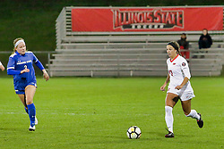NORMAL, IL - October 17: Lindsey Anstine & Emily Adelman  during an NCAA Missouri Valley Conference (MVC)  women's soccer match between the Indiana State Sycamores and the Illinois State Redbirds October 17 2018 on Adelaide Street Field in Normal IL (Photo by Alan Look)