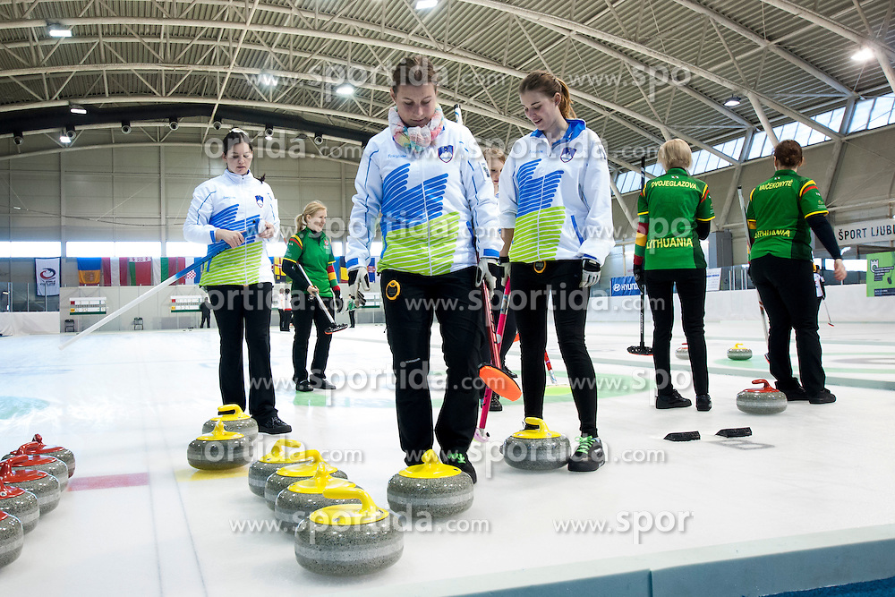 Players of Slovenia during European Curling Championship C-division between national team of Slovenia and Lithuania on April 29, 2016 in Ledena dvorana Zalog, Ljubljana, Slovenia. Photo By Urban Urbanc / Sportida