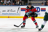 KELOWNA, BC - SEPTEMBER 28:  Carson Sass #7 of the Kelowna Rockets attempts to block a pass against the Everett Silvertips at Prospera Place on September 28, 2019 in Kelowna, Canada. (Photo by Marissa Baecker/Shoot the Breeze)