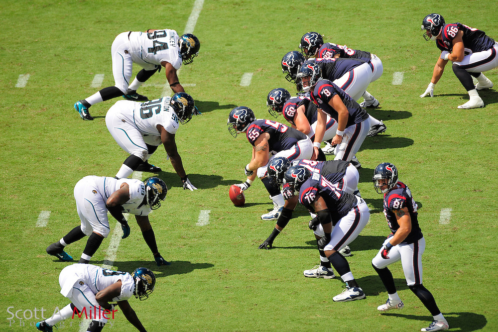 Houston Texans offensive line and the Jacksonville Jaguars defensive line during the NFL game between the Texans and the Jaguars, at EverBank Field on September 16, 2012 in Jacksonville, Florida. The Texans won 27-7...(AP Photo/Scott A. Miller).