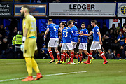 Portsmouth Players Celebrate after Portsmouth Defender, Matt Clarke (5) scores a goal 1-0 during the EFL Sky Bet League 1 match between Portsmouth and Bury at Fratton Park, Portsmouth, England on 16 December 2017. Photo by Adam Rivers.