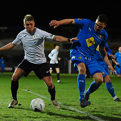 TELFORD COPYRIGHT MIKE SHERIDAN Darryl Knights battles for the ball during the FA Trophy Round 1 fixture between AFC Telford United and Leamington at the New Bucks head Stadium on Tuesday, December 17, 2019.<br /> <br /> Picture credit: Mike Sheridan/Ultrapress<br /> <br /> MS201920-034
