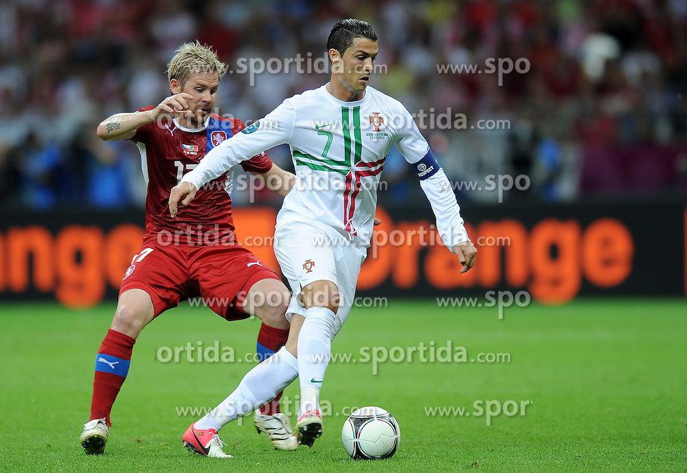 21.06.2012, Nationalstadion, Warschau, POL, UEFA EURO 2012, Tschechien vs Portugal, Viertelfinale, im Bild TOMAS HUBSCHMAN CRISTIANO RONALDO // during the UEFA Euro 2012 Quarter Final Match between Czech Republic and Portugal at the National Stadium Warsaw, Poland on 2012/06/21. EXPA Pictures © 2012, PhotoCredit: EXPA/ Newspix/ Lukasz Laskowski..***** ATTENTION - for AUT, SLO, CRO, SRB, SUI and SWE only *****