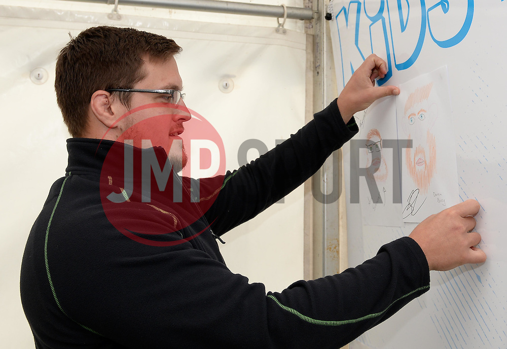 Nick Schonert and Darren Barry draw pictures of each in the Kids Zone - Mandatory by-line: Dougie Allward/JMP - 22/10/2016 - RUGBY - Sixways Stadium - Worcester, England - Worcester Warriors v Brive - European Challenge Cup
