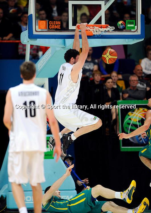 Alex Pledger (NZ)<br /> Basketball - Australia vs New Zealand<br /> 2011 FIBA Oceania Championship<br /> Brisbane Entertainment Centre<br /> Friday 9th September 2011<br /> &copy; Sport the library / Jeff Crow