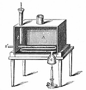 Rumford's calorimeter used to determine amount of heat produced by combustion. Benjamin Thompson, Count Rumford (1753-1814) Anglo-American scientist.