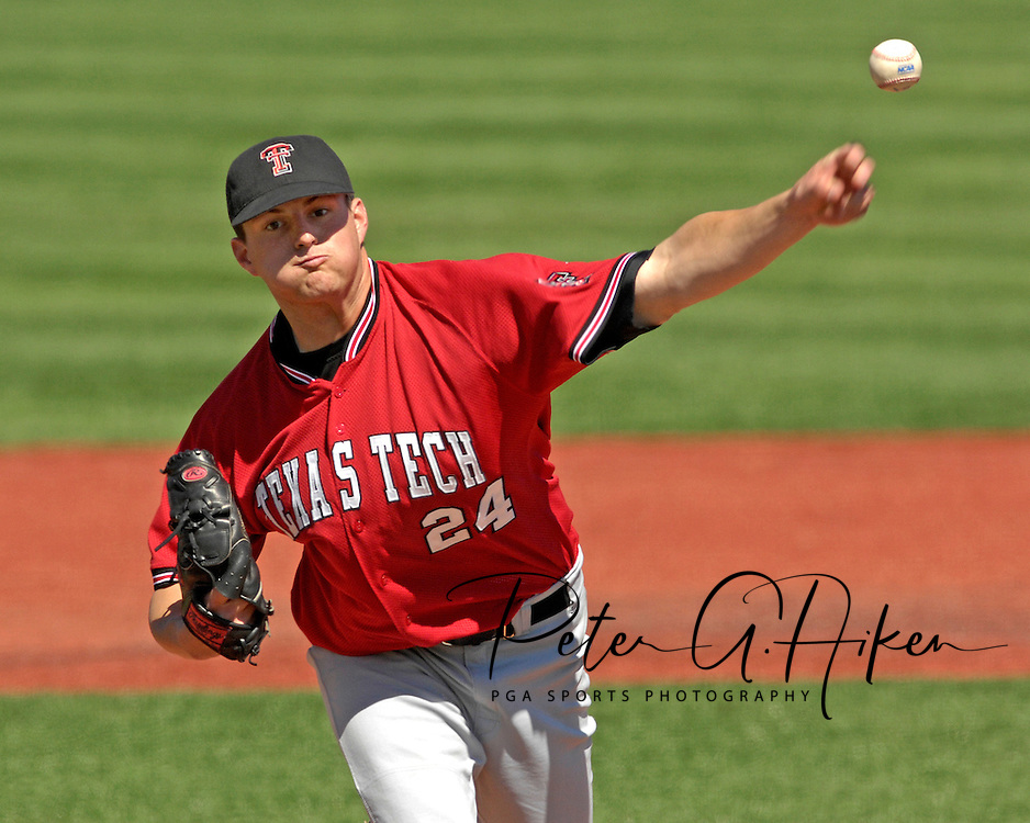 Texas Tech starting pitcher Josh Scofield fires in a pitch against Kansas State at Tointon Stadium in  Manhattan, Kansas, April 1, 2007.  Kansas State defeated Texas Tech 7-3.