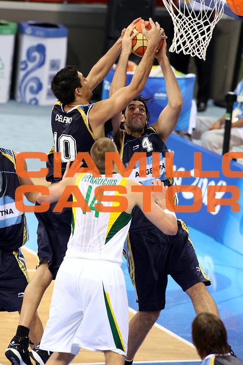 DESCRIZIONE : Beijing Pechino Olympic Games Olimpiadi 2008 Lithuania Argentina<br />GIOCATORE : Carlos Delfino Luis Scola<br />SQUADRA : Argentina<br />EVENTO : Olympic Games Olimpiadi 2008<br />GARA : Lituania Argentina<br />DATA : 10/08/2008 <br />CATEGORIA : Rimbalzo<br />SPORT : Pallacanestro <br />AUTORE : Agenzia Ciamillo-Castoria/G.Ciamillo<br />Galleria : Beijing Pechino Olympic Games Olimpiadi 2008 <br />Fotonotizia : Beijing Pechino Olympic Games Olimpiadi 2008 Lithuania Argentina<br />Predefinita :