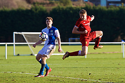 BLACKBURN, ENGLAND - Saturday, January 6, 2018: Liverpool's Paul Glatzel sees his header saved during an Under-18 FA Premier League match between Blackburn Rovers FC and Liverpool FC at Brockhall Village Training Ground. (Pic by David Rawcliffe/Propaganda)