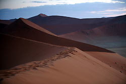 NAMIBIA SOSSUSVLEI 20APR14 - View from Dune 45 in Sossusvlei, Namibia.<br /> <br /> Its name comes from the fact that it is at the 45th kilometre of the road that connects the Sesriem gate and Sossusvlei. Standing over 170m, it is composed of 5 million year old sand that is detritus accumulated by the Orange River from the Kalahari Desert and then blown here.<br /> <br /> jre/Photo by Jiri Rezac<br /> <br /> © Jiri Rezac 2014