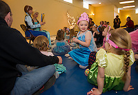 "Cousins Briella Prescott and Audbrey Prescott are ""princesses"" for a day at the Anna and Elsa Tea Party at Gilford Community Center Saturday morning.  (Karen Bobotas/for the Laconia Daily Sun)"