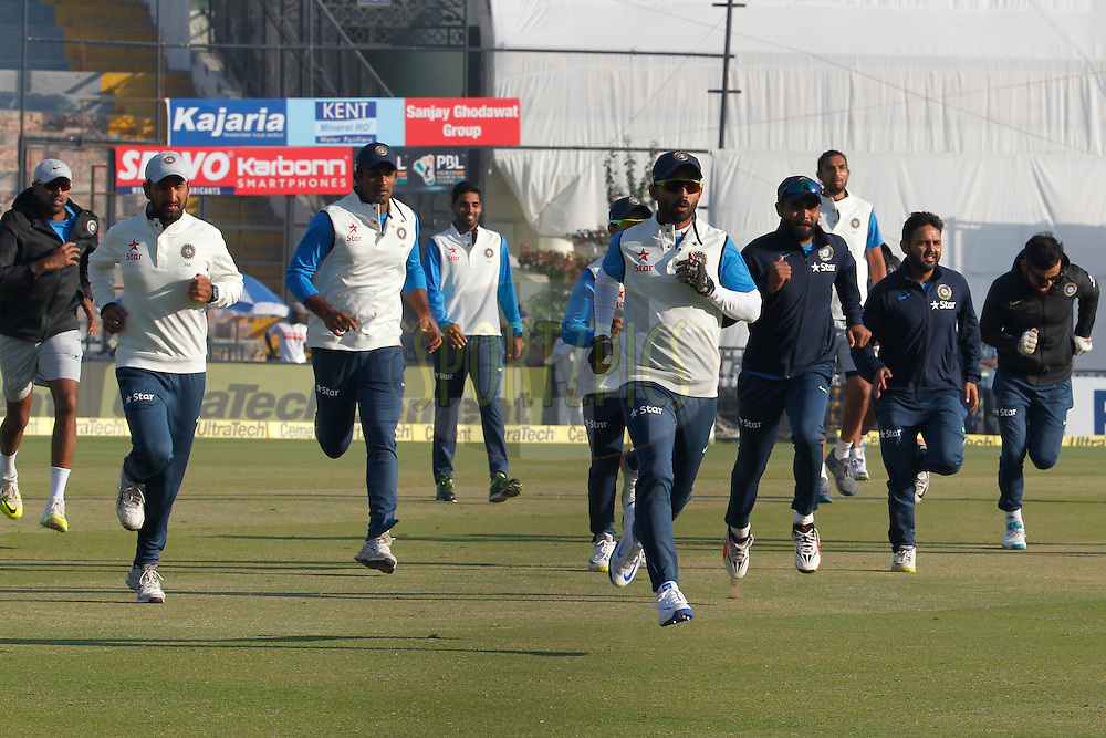 India Team players During the Practice session before the day 2 of the third test match between India and England held at the Punjab Cricket Association IS Bindra Stadium, Mohali on the 27th November 2016.<br /> <br /> Photo by: Deepak Malik/ BCCI/ SPORTZPICS
