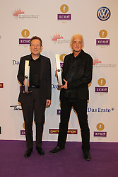 "Jimmy Page and John Paul Jones of  ""Led Zeppelin"" winning ""Lifetime Achievement Award"", German ""Echo"" music award in Messegelaende, Berlin, Germany, 21, March 2013. Photo by Elliott Franks / i-Images..."