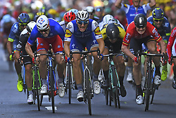 July 2, 2017 - Liege, Belgique - LIEGE, BELGIUM - JULY 2 : DEMARE Arnaud (FRA) Rider of FDJ, KITTEL Marcel (GER) Rider of Quick-Step Floors Cycling team, GREIPEL Andre (GER) Rider of Team Lotto - Soudal during stage 2 of the 104th edition of the 2017 Tour de France cycling race, a  stage of 203 kms between Dusseldorf and Liege on July 02, 2017 in Liege, Belgium, 2/07/2017 (Credit Image: © Panoramic via ZUMA Press)