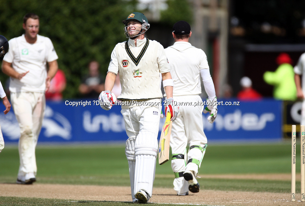 Australian batsman Michael Clarke walks after being stumped by brendon McCullum.<br /> 1st cricket test match - New Zealand Black Caps v Australia, day two at the Basin Reserve, Wellington.Saturday, 20 March 2010. Photo: Dave Lintott/PHOTOSPORT