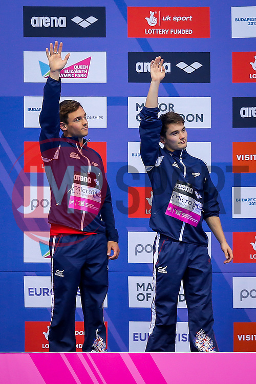 Tom Daley and Daniel Goodfellow of Great Britain celebrate on the podium after winning Silver Medals in the Mens 10m Synchronised Platform Final - Mandatory byline: Rogan Thomson/JMP - 12/05/2016 - DIVING - London Aquatics Centre - Stratford, London, England - LEN European Aquatics Championships 2016 Day 4.