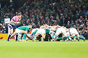 An Irish scrum during the Rugby World Cup Quarter Final match between Ireland and Argentina at Millennium Stadium, Cardiff, Wales on 18 October 2015. Photo by Shane Healey.