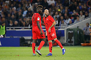 Balotelli Mario of Nice and Jallet Christophe of Nice during the French championship L1 football match between Olympique Lyonnais and Amiens on August 12th, 2018 at Groupama stadium in Decines Charpieu near Lyon, France - Photo Romain Biard / Isports / ProSportsImages / DPPI