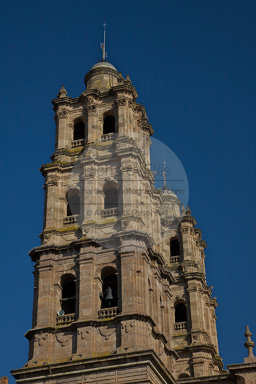 The twin towers of the Morelia Cathedral on the Plaza de Armas Morelia, Michoacan state Mexico. The city is a UNESCO World Heritage Site and hosts on of the best preserved collection of Spanish Colonial architecture in the world. Commissioned by the Duke of Albuquerque, appointed Viceroy to the territories of Mexico, ordered its construction in 1660 which was carried out by the Italian master Vicente Barroso until his death in 1692 it took an additional 52 years to complete. The Cathedral has the highest and bulkiest church towers of the continent.
