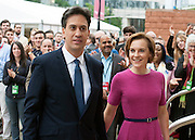 © Licensed to London News Pictures. 23/09/2014. Manchester, UK. Ed Miliband and Justine Thornton arrive.  Leader of the Labour Party Ed Miliband gives his leaders speech at the Labour Party Conference 2014 at the Manchester Convention Centre today 23 September 2014. Photo credit : Stephen Simpson/LNP