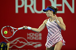 HONG KONG, Oct. 8, 2018  Alize Cornet of France hits a return during the singles first round match against Julia Glushko of Israel at 2018 Hong Kong Tennis Open in Hong Kong, China, Oct. 8, 2018. Alize Cornet won 2-0. (Credit Image: © Lo Ping Fai/Xinhua via ZUMA Wire)
