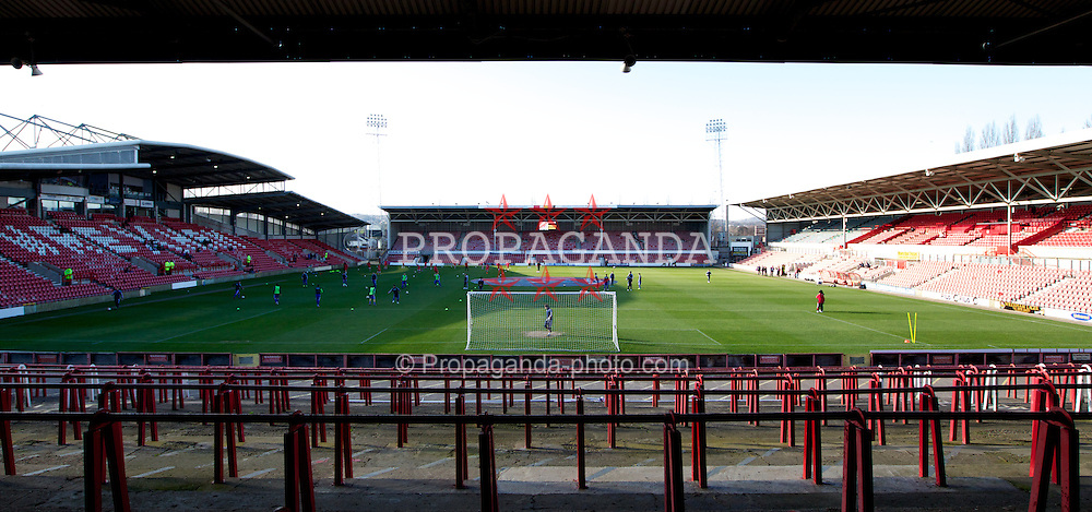 WREXHAM, WALES - Wednesday, February 29, 2012: A general view of the Racecourse Ground before the UEFA Under-21 Championship Qualifying Group 3 match between Wales and Andorra. (Pic by Vegard Grott/Propaganda)