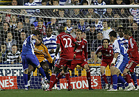 Photo: Lee Earle.<br /> Reading v Liverpool. Carling Cup. 25/09/2007. Reading's John Halls (L) scores their second.