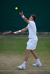 LONDON, ENGLAND - Thursday, June 24, 2010: Nicolas Mahut (FRA) during the Gentlemen's Doubles 1st Round match on day four of the Wimbledon Lawn Tennis Championships at the All England Lawn Tennis and Croquet Club. (Pic by David Rawcliffe/Propaganda)