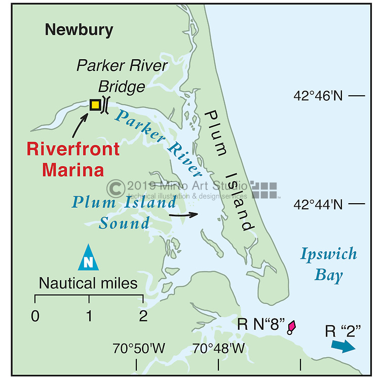 Vector map of Newburyport, Massachusettes marina