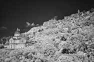 Infra Red Black & White of Ancient church of San Biagio beneath Montepulciano, Italy