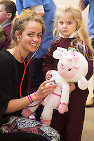 22/02/2014 Erica Carthy 1st Med and Hannah Fahy at the 10th annual Teddy Bear Hospital at NUI Galway will take place Thursday and Friday, 22 and 23 January. The event will see over 1,500 sick teddy bears admitted to the hospital, accompanied by their minders, 1,500 primary school children.<br /> <br /> The event is organised by the Sl&aacute;inte Society, the NUI Galway branch of the International Federation of Medical Students Associations, and up to 200 medical and science students will diagnose and treat the teddy bears. In the process, they hope to help children, ranging in age from 3-8 years, feel more comfortable around doctors and hospitals.. Photo:Andrew Downes