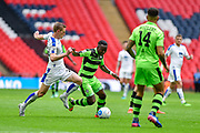 Forest Green Rovers Drissa Traoré(4) runs at the Tranmere Roves defence during the Vanarama National League Play Off Final match between Tranmere Rovers and Forest Green Rovers at Wembley Stadium, London, England on 14 May 2017. Photo by Adam Rivers.