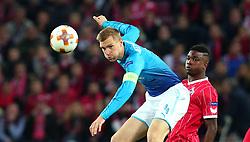 Per Mertesacker of Arsenal heads the ball - Mandatory by-line: Robbie Stephenson/JMP - 23/11/2017 - FOOTBALL - RheinEnergieSTADION - Cologne,  - Cologne v Arsenal - UEFA Europa League Group H