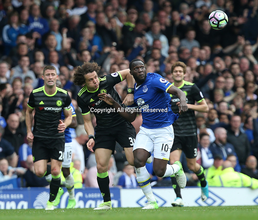 April 30th 2017, Goodison Park, Liverpool, England; EPL Premier league football, Everton versus Chelsea; Romelu Lukaku of Everton holds David Luiz of Chelsea as they chase a through ball