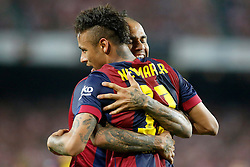30.05.2015, Camp Nou, Barcelona, ESP, Copa del Rey, Athletic Club Bilbao vs FC Barcelona, Finale, im Bild FC Barcelona's Neymar Santos Jr (r) and Daniel Alves celebrate goal // during the final match of spanish king's cup between Athletic Club Bilbao and Barcelona FC at Camp Nou in Barcelona, Spain on 2015/05/30. EXPA Pictures © 2015, PhotoCredit: EXPA/ Alterphotos/ Acero<br /> <br /> *****ATTENTION - OUT of ESP, SUI*****