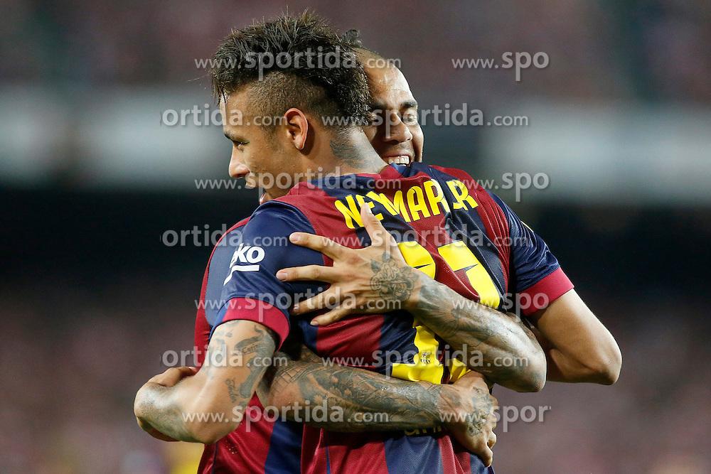 30.05.2015, Camp Nou, Barcelona, ESP, Copa del Rey, Athletic Club Bilbao vs FC Barcelona, Finale, im Bild FC Barcelona's Neymar Santos Jr (r) and Daniel Alves celebrate goal // during the final match of spanish king's cup between Athletic Club Bilbao and Barcelona FC at Camp Nou in Barcelona, Spain on 2015/05/30. EXPA Pictures © 2015, PhotoCredit: EXPA/ Alterphotos/ Acero<br /> <br /> *****ATTENTION - OUT of ESP, SUI*****