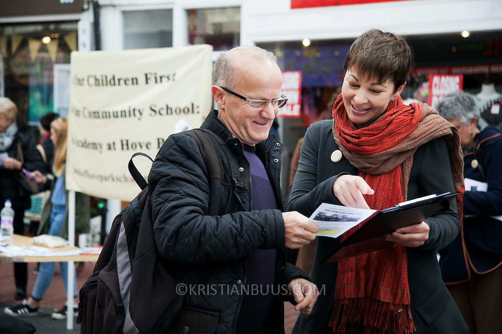 Caroline Lucas Greenparty campaign in Brighton.