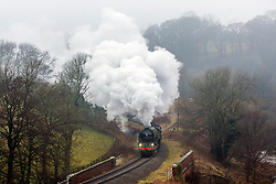© Licensed to London News Pictures. 06/03/2018. Goathland UK. The Tornado 60163 steam locomotive is back on track this morning on the North Yorkshire Moors railway in Goathland after being cancelled last week due to the severe weather. The locomotive took 18 years to build following the original design of Arthur Peppercorn at a cost of £3million & is known as one of the UK's fastest steam trains after reaching 100mph in 2008. Photo credit: Andrew McCaren/LNP