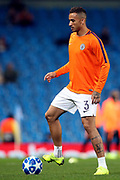 Manchester City defender Danilo (3) warming up during the Champions League match between Manchester City and Shakhtar Donetsk at the Etihad Stadium, Manchester, England on 7 November 2018.