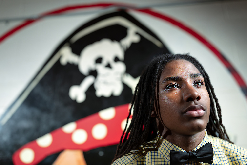 Ishmale Powell is set to graduate from Page High School at the age of 15. He is set to go to UNC-Charlotte to major in engineering. <br /> <br /> Photographed, Monday, May 21, 2018, in Greensboro, N.C. JERRY WOLFORD and SCOTT MUTHERSBAUGH / Perfecta Visuals