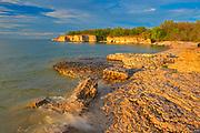 Limestone cliffs along Lake Manitoba at sunset<br />Steeprock<br />Manitoba<br />Canada