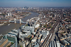 UK ENGLAND LONDON 21APR15 - View of the Docklands London skyline from The Shard, Europe's tallest building.<br /> <br /> <br /> <br /> jre/Photo by Jiri Rezac<br /> <br /> <br /> <br /> © Jiri Rezac 2015