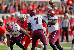 NORMAL, IL - October 13: Matt DeSomer lets a pass fly behind blockers Ernest Dye Jr. and ZeVeyon Fucron during a college football game between the ISU (Illinois State University) Redbirds and the Southern Illinois Salukis on October 13 2018 at Hancock Stadium in Normal, IL. (Photo by Alan Look)