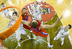 Gasper Vidmar (13) of Olimpija, Dmitry Sokolov (30), Victor Khryapa of CSKA, Matt Vincent Walsh (44) of Olimpija and Sani Becirovic (7) of Olimpija at Euroleague basketball match between KK Union Olimpija, Ljubljana and CSKA Moscow, on January 7, 2010 in Arena Tivoli, Ljubljana, Slovenia. CSKA defeated Olimpija 80:77 after overtime. (Photo by Vid Ponikvar / Sportida)