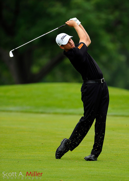 Aug 15, 2009; Chaska, MN, USA; John Merrick (USA) hits from the third fairway during the third round of the 2009 PGA Championship at Hazeltine National Golf Club.  ©2009 Scott A. Miller